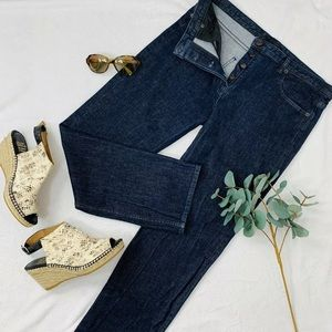 The Row Dark Wash Cropped Straight Leg Jean